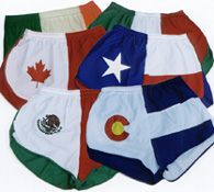 group flag running shorts