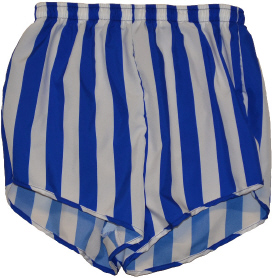 royal and white wide stripe short